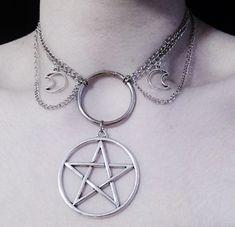 Triple moon pentagram choker )o( OfStarsAndWine on etsy )o( goth witch nu goth style