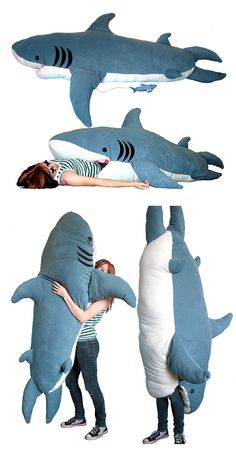 """Shark Attack Sleeping Bag -Actually called the """"ChumBuddy"""", it was created by 19 year old design wondergenius Kendra Phillips. The Shark Attack Sleeping Bag is 7 feet tall, hand sewn and is filled with 30 pounds of soft fill. Costume Original, Take My Money, Cool Inventions, Shark Week, Things To Buy, Geek Stuff, Hilarious, Retro Vintage, Vintage Decor"""