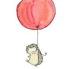 love this artisit so cute  Nursery Art  My Red Balloon Hegdehog  5x7 Art by trafalgarssquare, $10.00