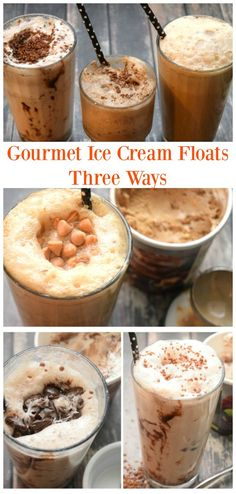 Gourmet Ice Cream Floats - three different ways. A delicious dessert perfect for weeknights! Chocolate, Mint, and even a Butterbeer float! So yummy!