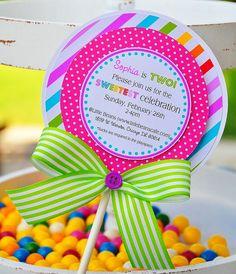 Lollipop  Invitations, Candyland Lollipop Invitations. $38.00, via Etsy.