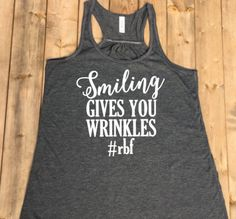 RBF Funny Shirts for Women, Resting Bitch Face, Grey Shirt, V Neck Tank Top Women, Hashtag Shirt, Smiling Gives You Wrinkles, Size S-XXL by ForeverStrongApparel on Etsy