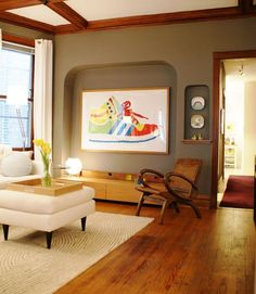 Color Confidence: 10 Colors that Work Well with Wood Trim- I like this wall color