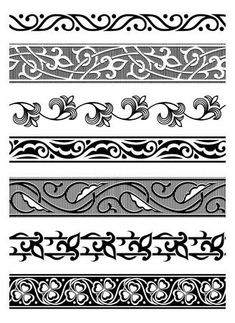 Illustration of set of vector seamless floral borders vector art, clipart and stock vectors. Border Pattern, Border Design, Pattern Art, Pattern Design, Stencil Templates, Leather Pattern, Celtic Designs, Floral Border, Calligraphy Art