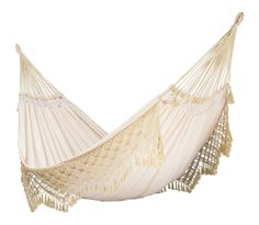 LA SIESTA Bossanova Champagne Fabric Hammock at Lowe's. The luxurious kingsize Bossanova hammock in Champagne, made of organic cotton, is extra-large, soft and comfortable. Because of a special diagonal stretch Outdoor Hammock, Hammock Chair, Swinging Chair, Diy Chair, Outdoor Decor, Swing Chairs, Hanging Chairs, Outdoor Living, Hammock Stand