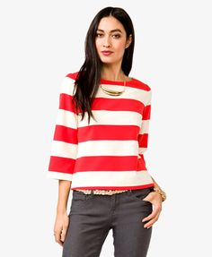 (in black and white) striped ponte knit top