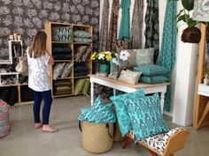 Updated displays and stock in our cape town showroom in new aqua colours Aqua Color, Cape Town, Showroom, Living Spaces, Fabrics, Colours, Throw Pillows, Decorating, Bed