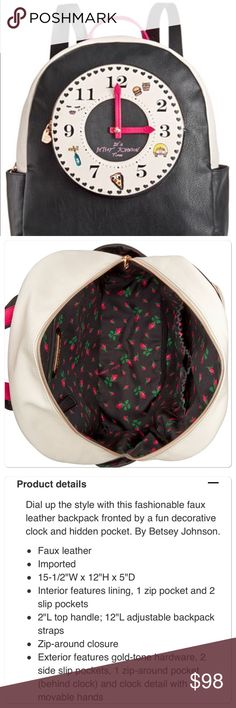 NWT Betsey Johnson backpack NWT Betsey Johnson black backpack.  See tab for details. Betsey Johnson Bags Backpacks