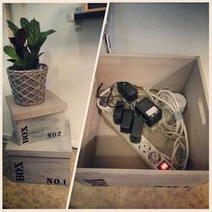 DIY how to hide your cable and power outlet ;) no more stressful cables. All you'll need is just a fancy boxes hihi ♡♡♡ simple and clean! #cableOutletdecor #hidecables