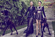 Dragon Ladies – French publication Madame Figaro finds models Ling Ling Kong and Gao Ying in a series of luxe images from the lens of photographer Chen Man. Styled in elaborately luxe looks for fall, the girls straddle tradition with modern femininity and elegantly bare beauty by Tian Hongyu.