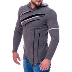 Pánská moderní mikina ze 100% bavlny s kapucí antracitová Men Sweater, Athletic, Sweaters, Jackets, Fashion, Down Jackets, Moda, Athlete, Fashion Styles