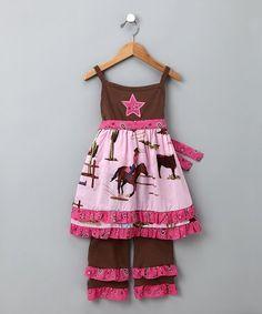 Pink & Brown Cowgirl Tunic & Pants - Toddler & Girls #zulily #zulilyfinds