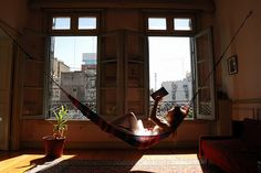 Reading hammock... It shouldn't surprise anyone how much a covet an indoor hammock of my own.