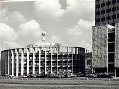 """modernism-in-metroland: """" Circular Car Park, Hemel Hempstead Double helix car park in the Water Gardens area of Hemel Hempstead, built in the late and now demolished. Image from Our Dacorum. Hemel Hempstead, Dark City, Back In Time, Willis Tower, Car Parking, Old Photos, Great Places, Paths, 3 D"""