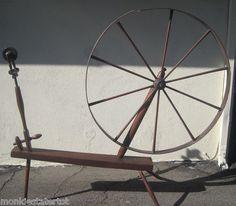 """Early 1700s Walking Wheel - diameter of wheel is 43 1/2"""""""