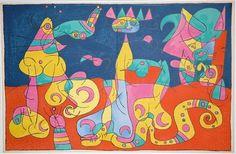 "Joan Miro ""Ubu Roi IV La Revue "" 1966 Lithograph Framed See Live Gallart | eBay"