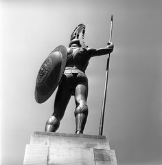Statue of Achilles like a perennial bronze sentinel of the spirit of Hellas-at the Achilleion photo by Nick DeWolf Ancient Greek Sculpture, Greek Warrior, Corfu Greece, Greek Gods And Goddesses, Alexander The Great, Ancient Greece, Mythology, Old Things, Helmet Hair