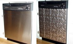 Dishwasher facelift! What a fantastic idea using ceiling tins!!!