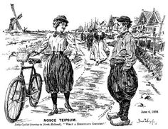 Satirical Punch Magazine Cartoon about Female Cyclist from June 1898 Blue Stockings, Female Cyclist, Classic Image, Vintage Bicycles, Belle Epoque, American Women, Fashion History, Character Design, Punch Magazine