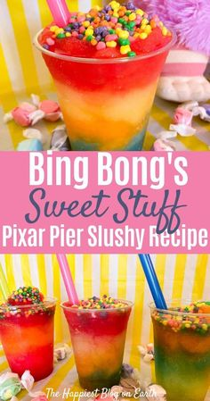 Easy Pixar Pier copy cat recipe. Slushy, cool drink inspired by Memory Refreshers at Bing Bong's Sweet Stuff. Rainbow Unicorn, Imaginary Pal and others! #DisneyFood #DisneyRecipe Pineapple Fanta, Grape Fanta, Disney Diy, Disney Food, Disney Recipes, Disney Ideas, Disney Inspired Food, Copycat Recipes, Drink Recipes