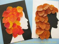 Pueden dibujar en la hoja negra, o de cualquier color, un perfil (de revista o de una foto). Lo recortan y pegan sobre otra hoja, y les quedan dos cabezas para decorar con las hojas.