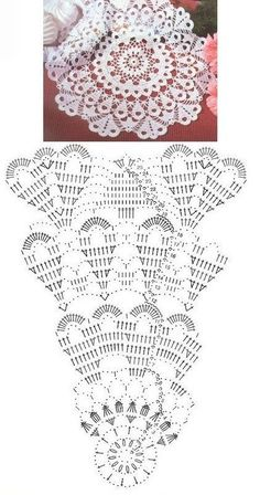 48 ideas for crochet lace table runner pattern charts Mandala Au Crochet, Free Crochet Doily Patterns, Crochet Doily Diagram, Crochet Sunflower, Crochet Circles, Crochet Motifs, Crochet Chart, Thread Crochet, Filet Crochet