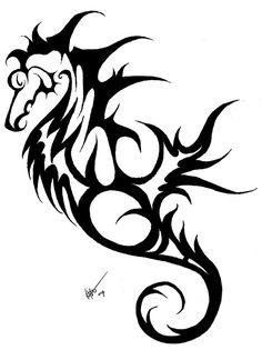 ... Seahorse Skeleton Tribal Tattoo Design