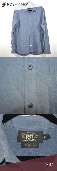 d9cc0f0ef976 Vtg 90s Ralph Lauren Double R Dress Shirt Size L Vintage Ralph Lauren  Double R Chambray