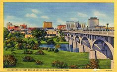 San Angelo TX. This 50's era post card shows the Chadbourne St. Bridge leading into downtown San Angelo on what was then Hwy 87 the main north - south thruway and now known as the business route.