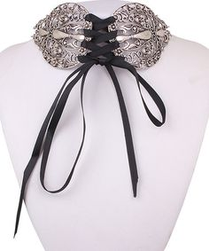 Another great find on #zulily! Black & Silvertone Lace-Up Choker Necklace #zulilyfinds