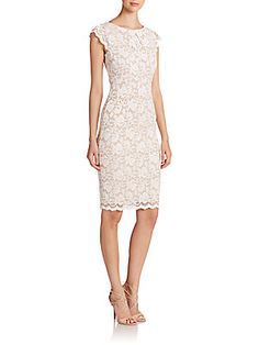 Feminine... I prefer the below the knee for business... ABS Lace Cap-Sleeve Dress