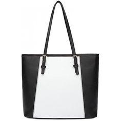 LUCLUC Black Color Block Shoulder Bag (£18) ❤ liked on Polyvore featuring bags, handbags, shoulder bags, lucluc, black purse, color block handbag, black handbags, black shoulder handbags and colorblock purse