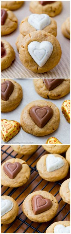 My favorite soft-baked and extra thick peanut butter cookie recipe with heart shaped chocolates.  Recipe on sallysbakingaddiciton.com