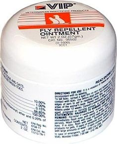 $22.48-$10.99 VIP Fly Repellent Ointment (2 oz) repels biting flies, for dogs and cats. Also kills ticks on ears and between toes. Comes in a 2 oz. ointment. Directions: Spread lightly on tips and edges of ears to aid in repelling biting flies, houseflies and misquitos from these areas of the pet's body. To kill ticks, spread a light film on ears and between toes.