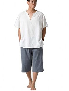 Katuo Men's Casual Shorts Elastic Waist Vintage Green / Gray Shorts at Amazon Men's Clothing store:
