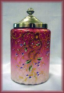 Biscuit Barrel Enameleld Pink Mother Of Pearl