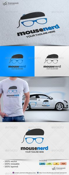 Mouse Nerd  - Logo Design Template Vector #logotype Download it here: http://graphicriver.net/item/mouse-nerd-logo-template/5702170?s_rank=136?ref=nexion
