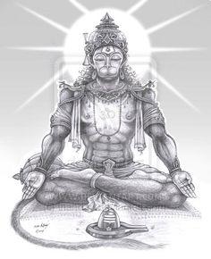 meditating Hanuman by thandav