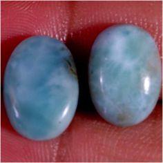 11.10 CTS NATURAL CARIBBEAN BLUE LARIMAR 08X12 MM EARRING PAIR LOOSE STONE #Jaipurgems2016
