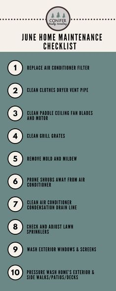 June Home Maintenance Checklist. Summer Time Home Maintenance. Get monthly home maintenance checklist here!