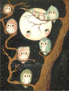 Owl Print Owls In A Tree Nursery Art Bird Moon Wall Art ---Night Awake
