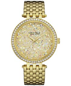 Caravelle New York by Bulova Women's Gold-Tone Stainless Steel Bracelet Watch 38mm 44L184 - Watches - Jewelry & Watches - Macy's