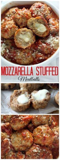 Mozzarella Stuffed Turkey Meatballs with Homemade Marinara Sauce R ... | Buzz…