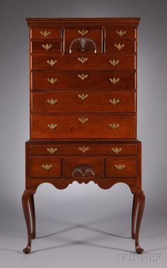 Windsor, Connecticut, Queen Anne Fan-Carved Cherry High Chest of Drawers, c. 1770, 75.5 H. x 37.5 W. x 19.25 D.