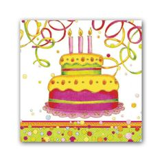Birthday Cake Napkins - So colorful!! Sure to enhance any birthday party setting!