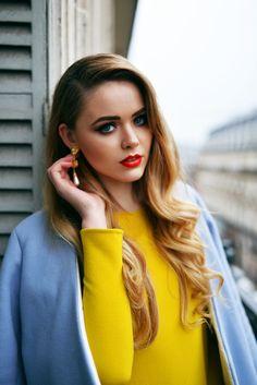 GET THE LOOK KAYTURE COAT : Topshop CLUTCH : Gucci DRESS : Zara EARRINGS : Prada LIPSTICK : Dior ~ by Kristina Bazan