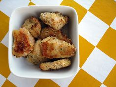 Chicken Nuggets to freeze - I haven't actually bought chicken nuggets in ages so it didn't occur to me to make them! I wonder what other nugget sized things I could use this with? One commenter suggests cauliflower.