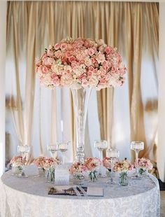 WEDDING Table Centerpiece Ideas; elegant pink roses and white hydrangeas