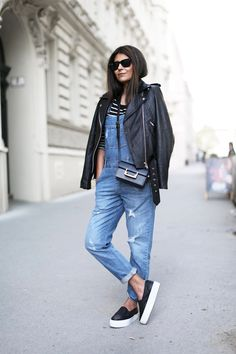 Outfit | Denim Overalls   Stripes   Slip Ons
