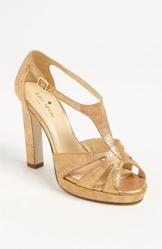 kate spade new york 'ria' sandal Gold Shoes, Gold Sandals, Women's Shoes Sandals, Wedding Wedges, Wedding Flats, Crazy Shoes, Me Too Shoes, Beautiful Shoes, Designer Shoes
